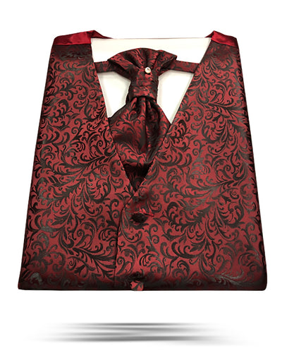 Men's Fashion Vest Set burgundy - ANGELINO