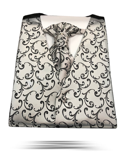 Men's Formal Vest Set - Prom - Wedding - Homecoming- Bello Silver - ANGELINO
