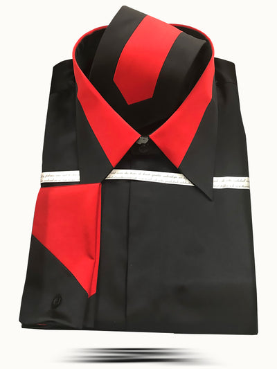 Men's Fashion Silk Shirts SS-B Black/Red - ANGELINO