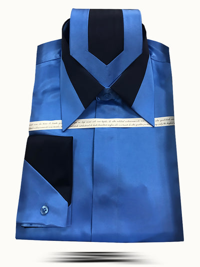 Men's Fashion Silk Shirts SS-B Blue - ANGELINO