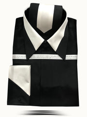 Men's Fashion Silk Shirt SS-B Black/White - ANGELINO