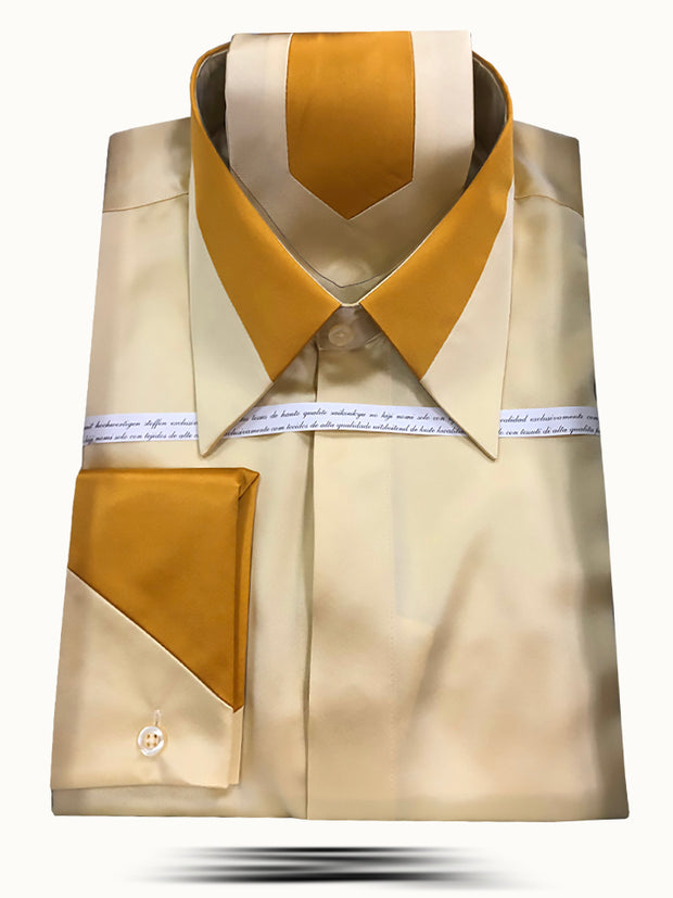 Men's Fashion Silk Shirts SS-B Gold - ANGELINO