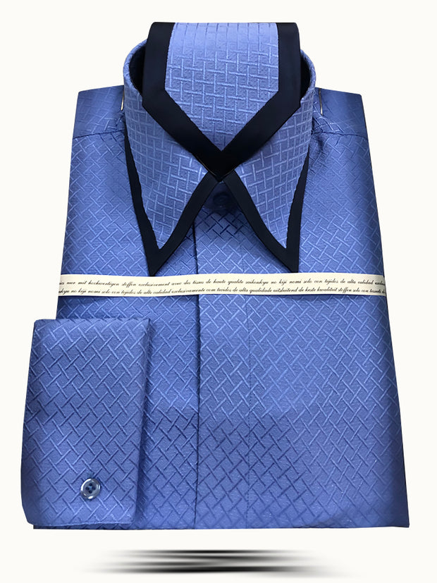 Men's Silk Shirts, SJ Blue - Fashion-Dress Shirt - ANGELINO
