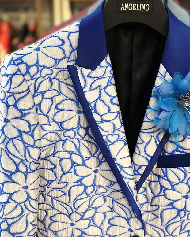 Prom Suits -  Floral Blue - Prom suits 2020 - Prom Tuxedo - ANGELINO