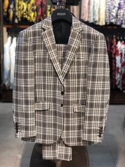 Mens Fashion Suit - Slim Fit Suits for Men - Plaid Suits - Lurex Plaid - ANGELINO