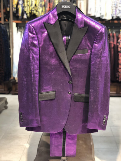 Men's Fashion Suit - Mens Slim Fit Suit - Shinny Purple Suit - ANGELINO