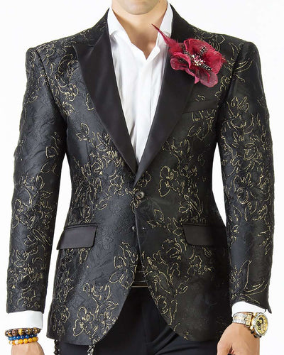 Tuxedo Blazer, Black Tuxedo jacket with floral motifs and black satin lapel.