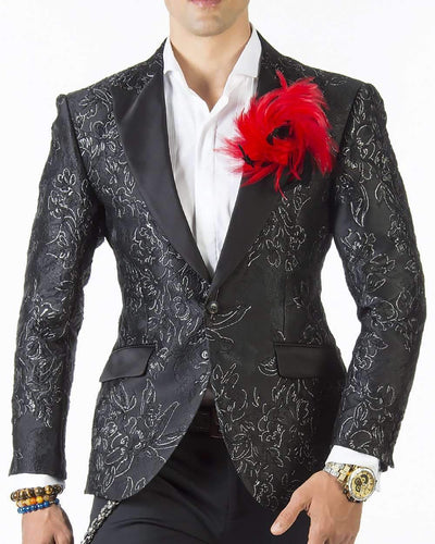 Tuxedo Jacket - London F. Black and Silver - Black - Tuxedo - Men - ANGELINO
