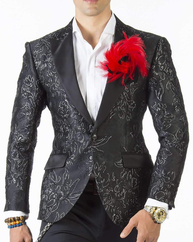 Tuxedo jacket black with silver flower motifs and black lapel.