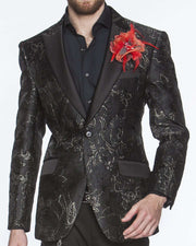 black tuxedo jacket with floral motifs