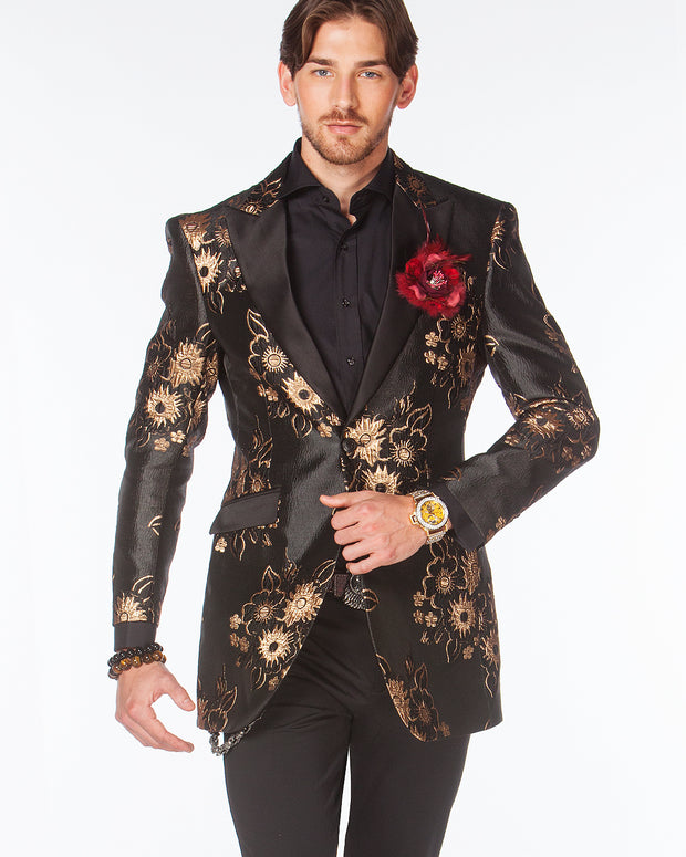 Prom Blazer - Prom Tuxedo 2021 - Sun F. Gold/Black - Semi Long Blazer - ANGELINO