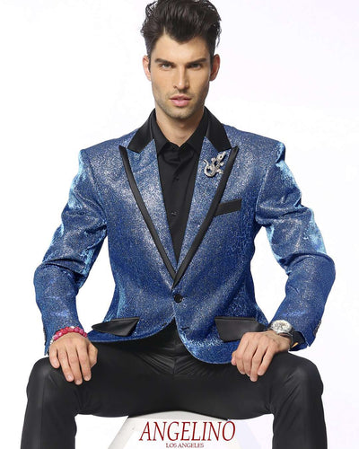 Blazer for men blue sparkling blazer with animal print