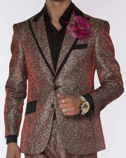 Fashion suit shiny red and silver