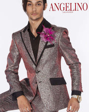 Prom Suit,  shiny glittering tuxedo suit in red/silver - 2 - ANGELINO