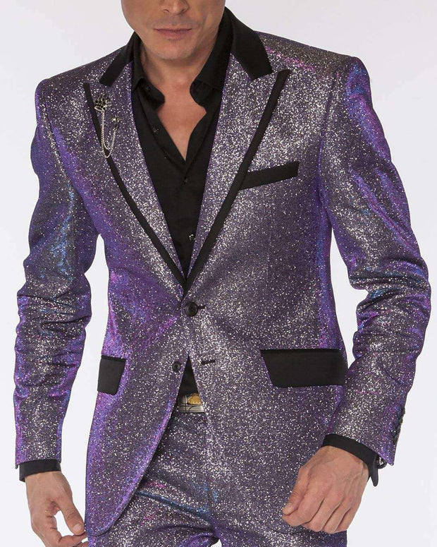 Prom Suits, glittering tuxedo suit in purple and silver - ANGELINO