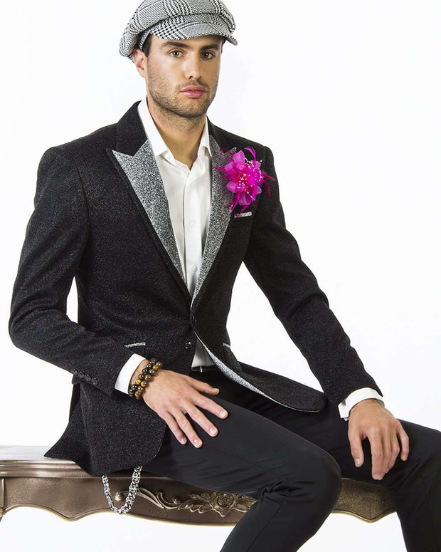 Tuxedo Jacket, black dinner Jacket with Silver Lapel