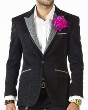 Tuxedo Jacket, in black with with silver Lapel - 1