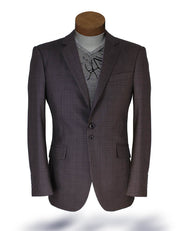 Men's Plaid Blazer - Malibu Small Plaid Brown - ANGELINO
