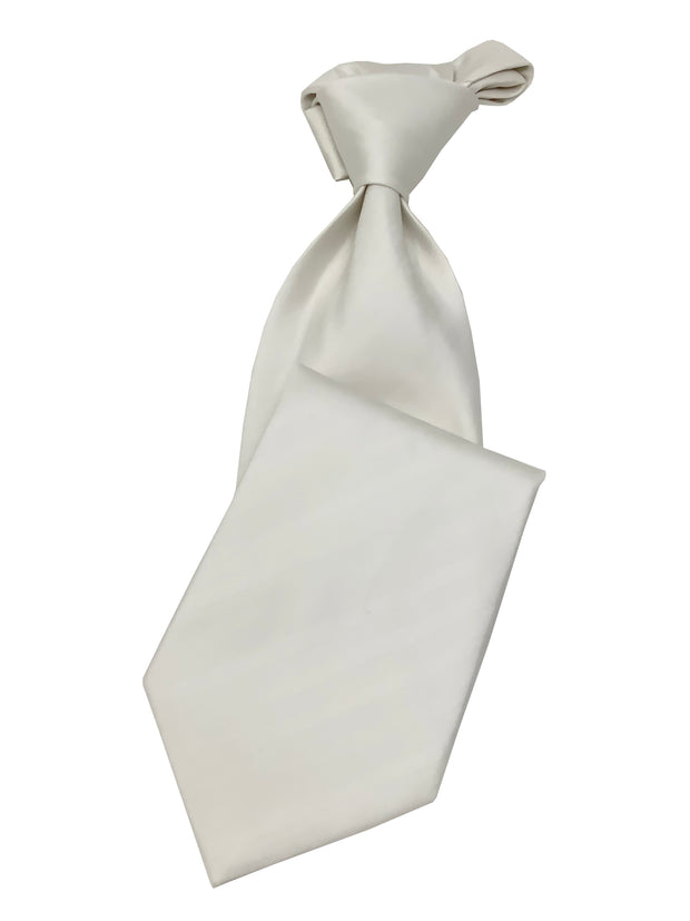 Men's White Necktie #4 - Solid Ties-Wedding-Prom-Silk Ties - ANGELINO