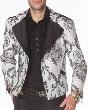men's biker bomber jacket, white