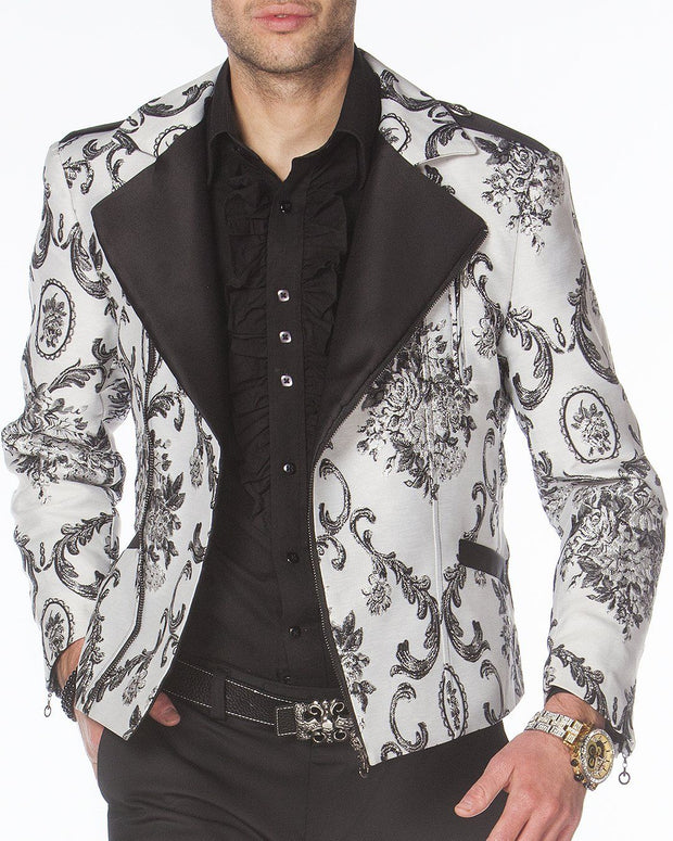 Men's Fashion Jacket - Men's Biker Jacket - V. WHITE - ANGELINO