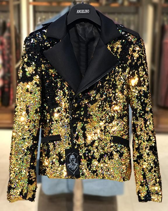 Men's Sequin Jacket - Men's Biker Jacket  - Fashion Sequin Gold/Black - ANGELINO