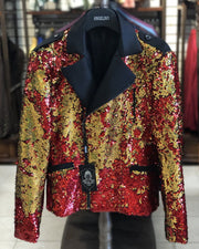 Men's Fashion Jacket - Biker Jacket - Sequin Red/Gold - ANGELINO