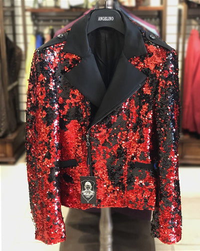Men's Fashion Jacket -  Biker Jacket - Sequin Red/Black - ANGELINO