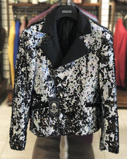 Men's Fashion Jacket - Men's Biker Jacket - Sequin Silver - ANGELINO