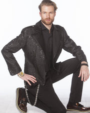 Men's Fashion Jacket - Men's Biker Jacket  - T. Black - ANGELINO