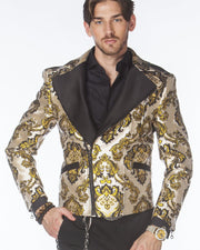 Gold black biker  jacket - ANGELINO