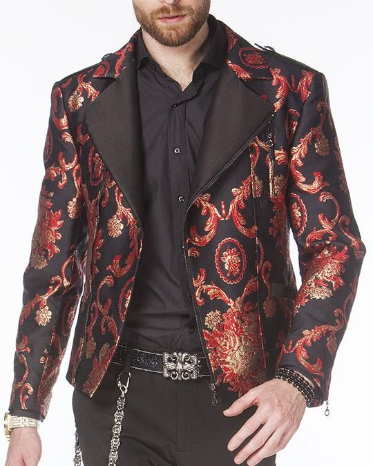 Men's Fashion Jacket - Men's Biker Jacket - V. RED - ANGELINO