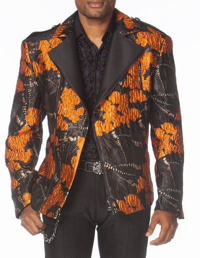 Orange black biker  jacket - ANGELINO