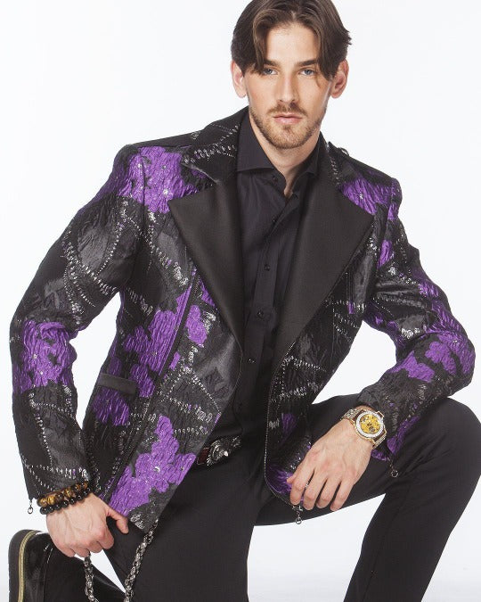 men's biker bomber jacket, purple black biker  jacket