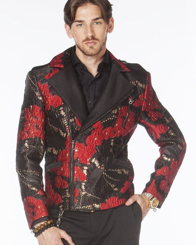 Red black biker  jacket - ANGELINO