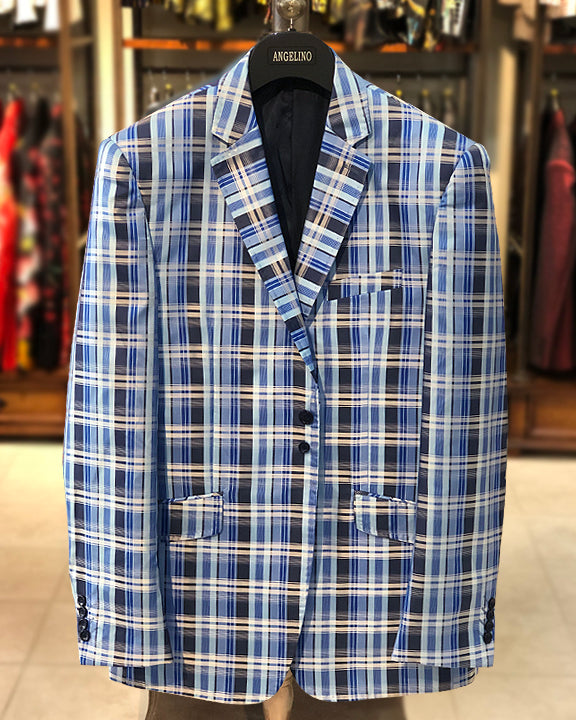 Mens Big and Tall - Mens Sport Coat - Blazer for men - Cuadro Blue - ANGELINO