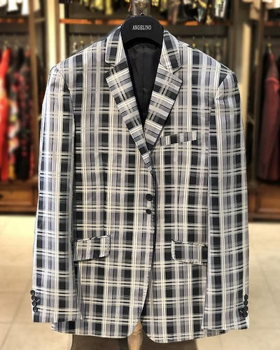 mens big and tall, big and tall clothing, gray plaid blazer, microfiber blazer for men