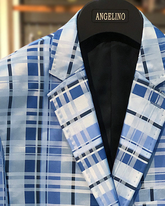 mens big and tall, big and tall for men, big and tall blazer, blue plaid blazer