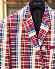 mens big and tall blazer, red blue plaid blazer