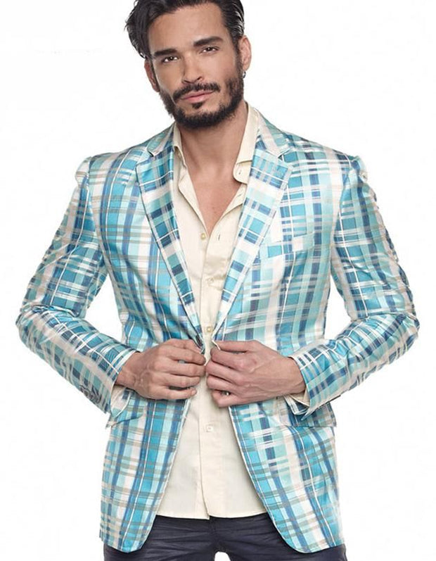 Mens Big and Tall, Big and Tall clothing, Blue Plaid Blazer