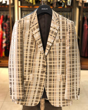 mens big and tall blazer, big and tall clothing, beige plaid blazer, brown plaid blazer