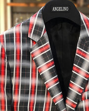 Mens Big and Tall - Mens Sport Coat - Blazer for men - marina Black Red - ANGELINO