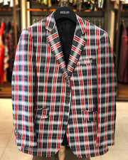 mens big and tall, big and tall clothing, big and tall blazer. black and red blazer, black red plaid blazer