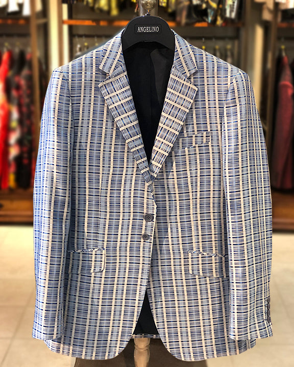 mens big and tall, big and tall blazer, blue plaid blazer