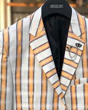 mens big and tall blazer, white and peach plaid blazer