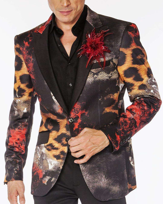 men's blazer with animal print with solid black satin lapel and pocket flap