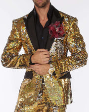 Sequin Suit, Gold/Silver  color with black satin lapel - ANGELINO