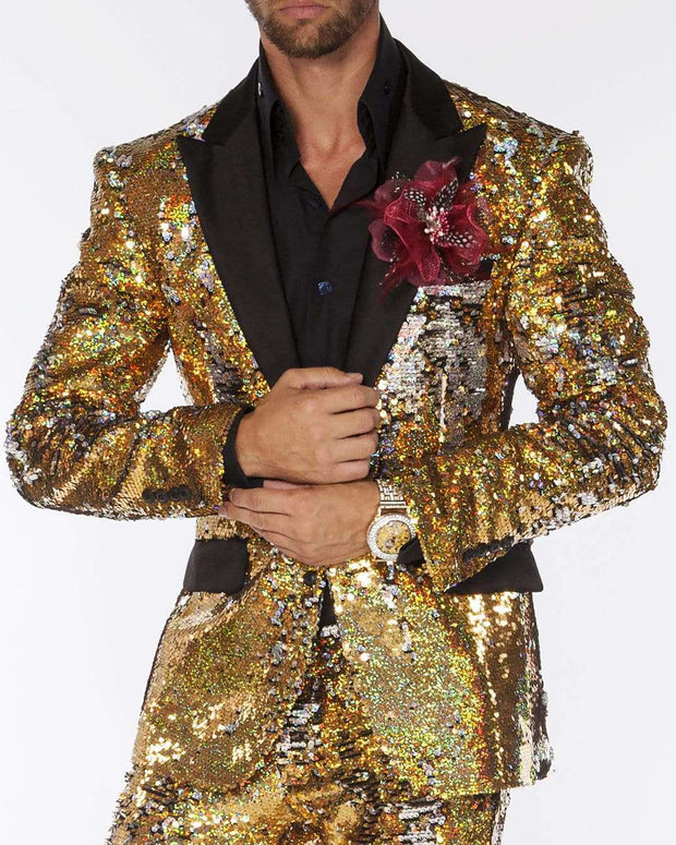 Mens gold sequins suit with black lapel