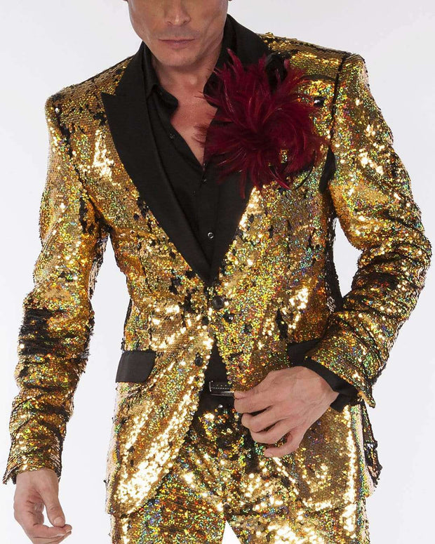 Gold sequins suit with black satin lapel and pocket flaps