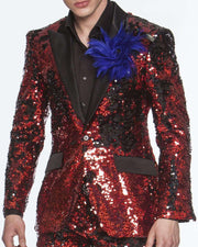 sequins suit red with black satin lapel.